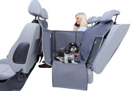 Antypoślizgowa mata do przewożenia psa samochodem na 2/3 tylnej kanapy, kolor oliwkowy