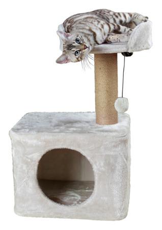Drapak z dużym domkiem, słupkiem, półką i piłeczką dla kota