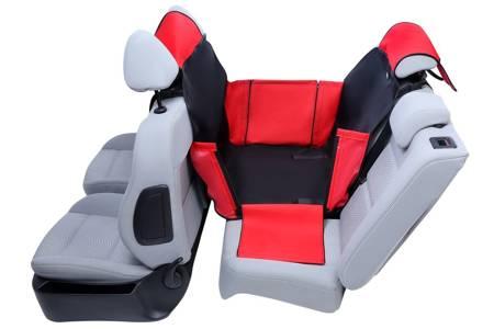 Mata samochodowa Activ Mini na 2/3 tylnej kanapy z bokami i ochroną zagłówków czarno czerwona