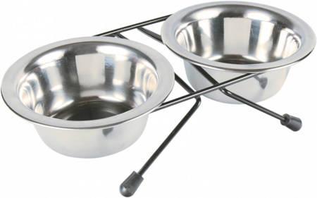 Metalowe miski na stojaku XS dla kota i małego psa - 2x200 ml
