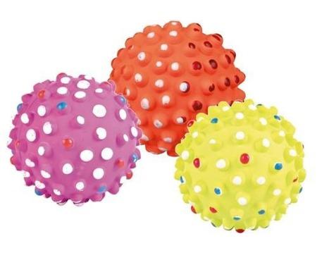Miękka, kolorowa piłka z wypustkami - 7 cm
