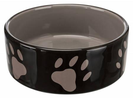 Miska ceramiczna brązowa w beżowe łapki 1,4l