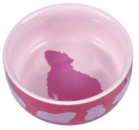 Miska z ceramiki zdobiona nadrukiem świnki morskiej - różowa - 250 ml