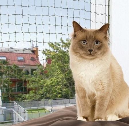 Siatka okienna chroniąca kota przed wypadnięciem - 6x3 m - zielona
