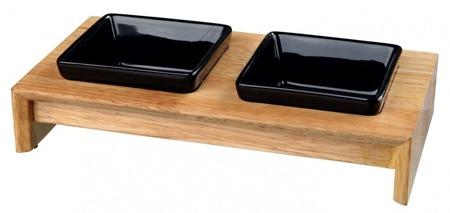 Trixie Miski ceramiczne na stojaku drewnianym 2x400ml