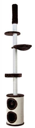 Wąski drapak sufitowy z platformami i dwupoziomowym domkiem – brąz i naturalny