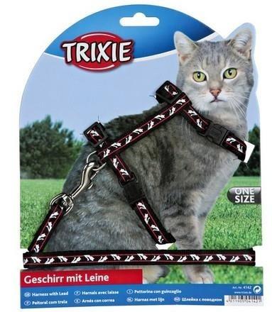 Zestaw: szelki ze smyczą, nylonowe ze wzorkiem, dla kotów
